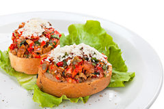 Bruschetta op de plaat Stock Foto