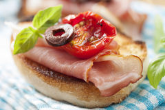 Bruschetta with parma ham royalty free stock photos