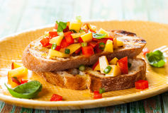 Bruschetta with Peach Salsa Royalty Free Stock Images