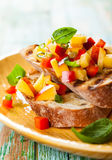 Bruschetta with Peach Salsa Royalty Free Stock Photography