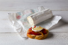 Bruschetta with peppers and goat cheese Stock Photography