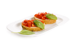 Bruschetta on plate Stock Image