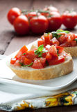 Bruschetta on plate Royalty Free Stock Images