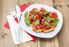 Bruschetta on a plate Stock Image
