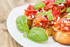 Bruschetta on a plate Royalty Free Stock Photography