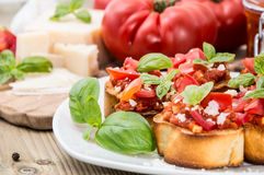Bruschetta on a plate (macro shot) Royalty Free Stock Photos