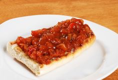 Bruschetta on plate shallow DOF Stock Photo