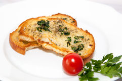 Bruschetta on a plate with tomato. Stock Image
