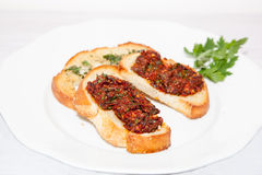 Bruschetta on a plate, . Stock Image
