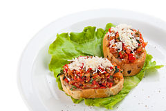 Bruschetta on the plate Stock Photography