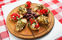 Bruschetta Platter Stock Photos