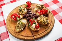 Bruschetta Platter Stock Photos