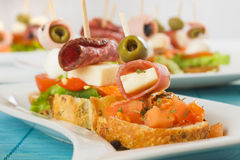 Bruschetta with prosciutto Stock Photography