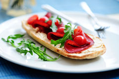 Bruschetta with prosciutto Royalty Free Stock Photography