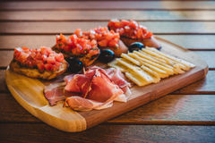 Bruschetta and prosciutto appetizers Royalty Free Stock Image