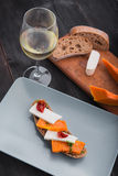 Bruschetta with pumpkin with wine Royalty Free Stock Photography
