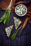 Bruschetta with ramson salad on slate background Stock Images
