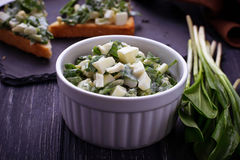 Bruschetta with ramson salad on slate background Royalty Free Stock Photo