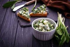 Bruschetta with ramson salad on slate background. Selective focus Stock Photos