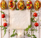 Bruschetta recipe Royalty Free Stock Photography