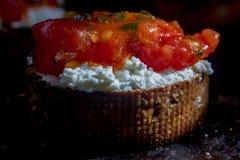 Bruschetta with ricotta cheese and tomato sauce Stock Photography