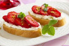 Bruschetta with ricotta Royalty Free Stock Photos