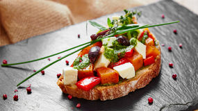 Bruschetta with roasted pumpkin Royalty Free Stock Images