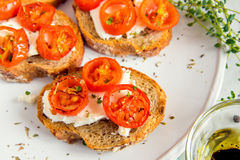 Bruschetta with roasted tomatoes Stock Photography