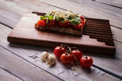 Bruschetta saboroso dos tomates Fotografia de Stock Royalty Free