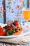 Bruschetta with salad vegetables and octopus Royalty Free Stock Images