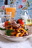 Bruschetta with salad vegetables and octopus Royalty Free Stock Photo