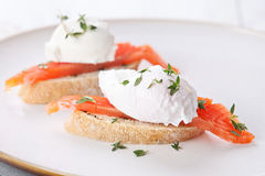 Bruschetta with salmon Stock Images