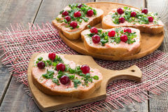 Bruschetta with salmon butter, capelin caviar, cranberry and her Royalty Free Stock Photo