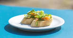 Bruschetta with salmon Stock Image