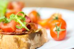 Bruschetta Sandwich Close Up Stock Photos