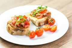 Bruschetta Sandwich Close Up Stock Images