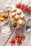 Bruschetta sandwich with cottage cheese Stock Photography