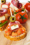 Bruschetta Sandwich With Prosciutto And Olive Stock Photography
