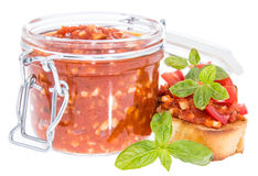Bruschetta Sauce in a glass on white Stock Photography