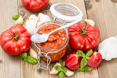 Bruschetta Sauce with ingredients Royalty Free Stock Photography