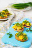 Bruschetta with scrambled eggs and arugula.  Stock Images