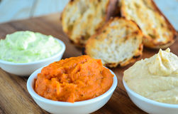 Bruschetta served with various dips Royalty Free Stock Image