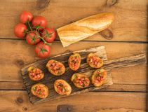 Bruschetta with baguette Stock Images