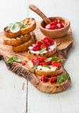 Bruschetta with strawberry Stock Photography