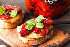 Bruschetta with sun dried tomatoes Royalty Free Stock Images