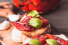 Bruschetta with sun dried tomatoes Stock Image