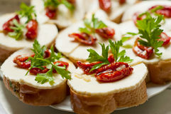 Bruschetta with sun dried tomatoes and mozzarella Stock Images