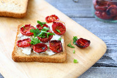 Bruschetta with sun-dried tomatoes Royalty Free Stock Image