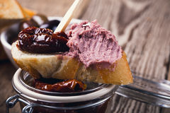 Bruschetta with sundried tomato and meat liver pate Stock Image