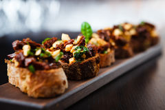 Bruschetta with sundried tomatoes Stock Photography